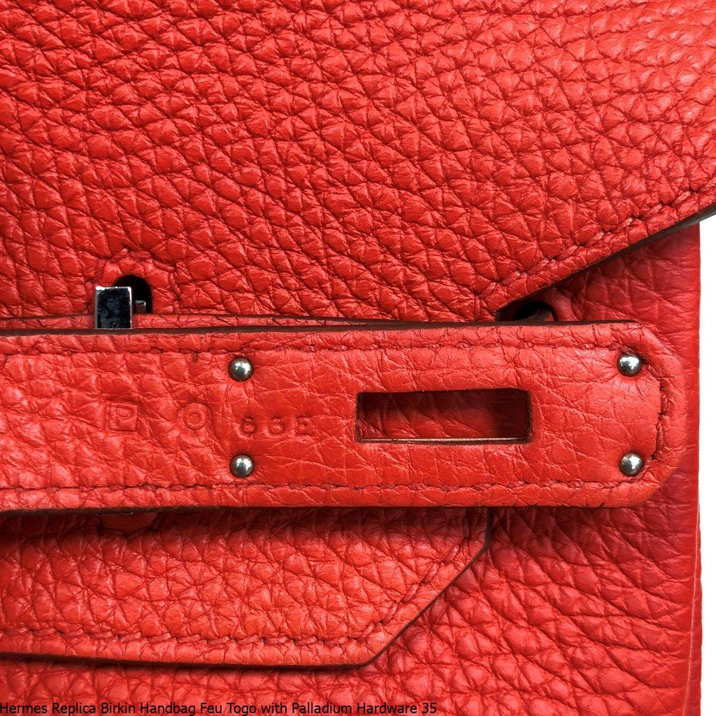 a6e8249d813e Hermes Replica Birkin Handbag Feu Togo with Palladium Hardware 35 – Hermes  Replica Bags
