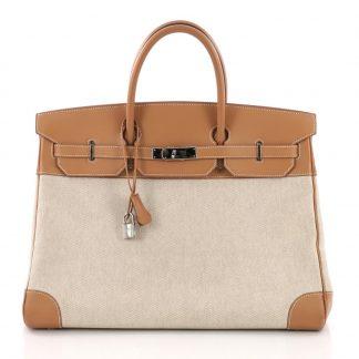 f667901ee9d2 Hermes Replica Birkin Handbag Toile and Brown Chamonix with Palladium  Hardware 40