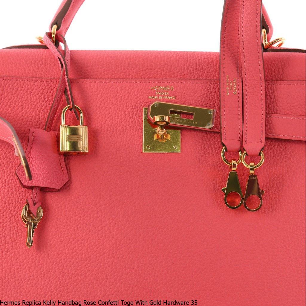 Hermes Replica Kelly Handbag Rose Confetti Togo With Gold Hardware 35
