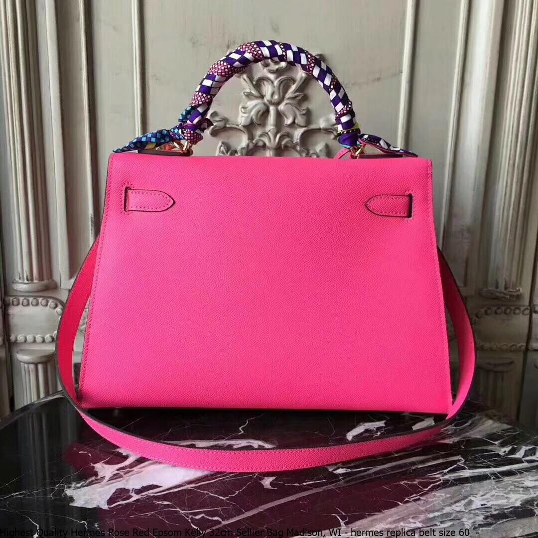 ... Highest Quality Hermes Rose Red Epsom Kelly 32cm Sellier Bag Madison 80af45c487